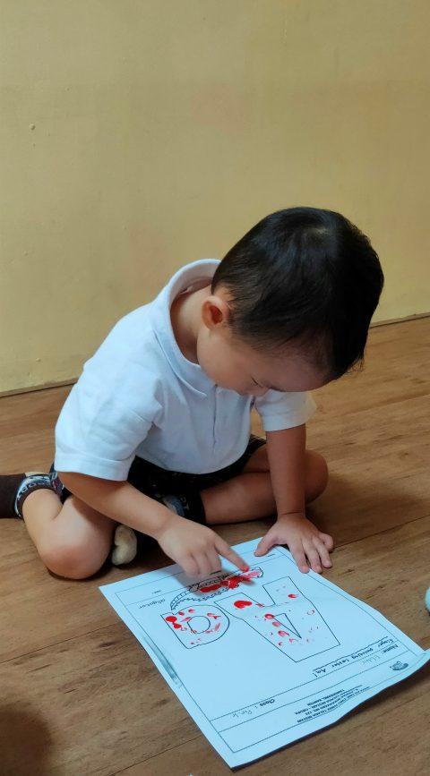 """PRE-K 1 """"Finger painting on letter Aa"""""""